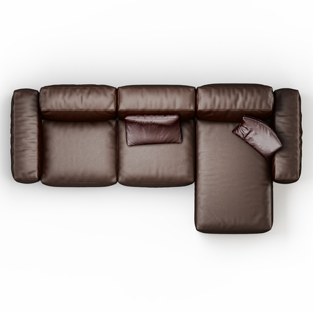 Leather corner sofa brown color on a white background top view 3d rendering Banco de Imagens