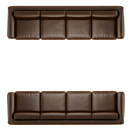 Leather soft brown sofa with folds on a white background 3d Banco de Imagens