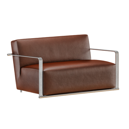 Leather soft brown sofa with folds on a white background 3d Archivio Fotografico