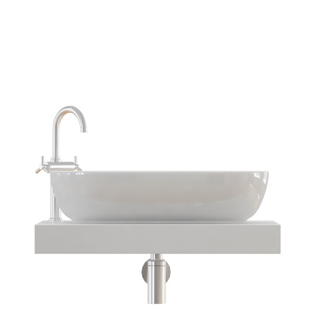 White sink with a tap for the bathroom on a white background 3d
