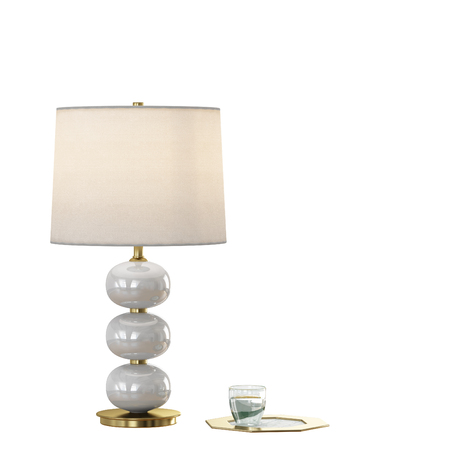 Table lamp with lampshade on a white background 3d rendering