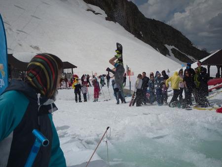 Snowboarding water competition ski resort Gorky-Gorod. Russia Sochi 05.11.2019 Editorial