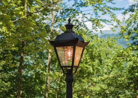 Classic black lantern light bulb on the background of the forest and sky Stock Photo