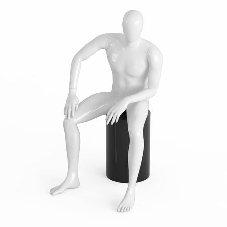 A white faceless mannequin sits on a black top hat. Black and white plastic 3D rendering Banque d'images - 129826956