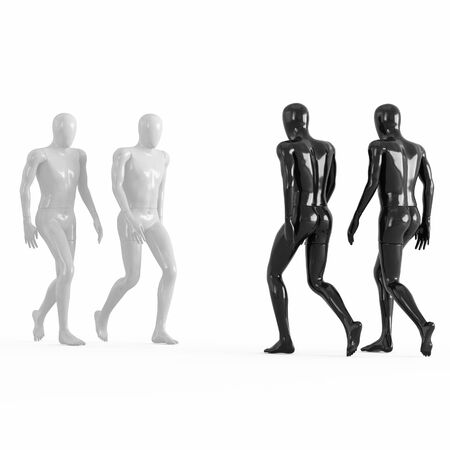 Two white and two black mannequins go towards each other. 3d rendering on a white background Reklamní fotografie