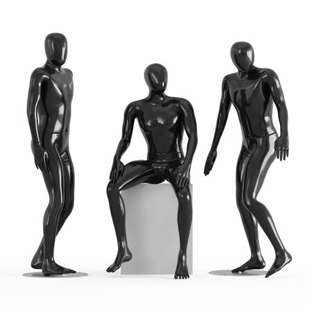 Three black mannequins two stand, one sits. Black and white plastic 3D rendering Stock fotó