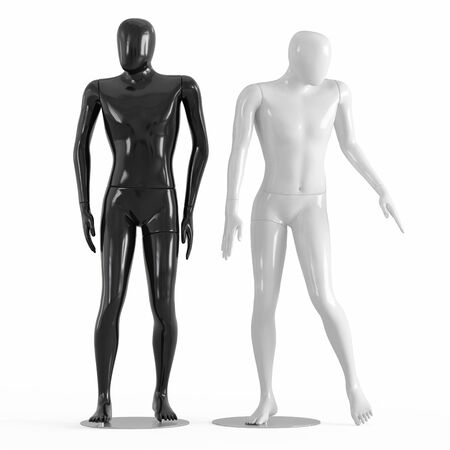 Male faceless mannequins black and white plastic 3D rendering