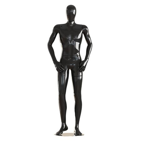Black faceless guy mannequin standing in a normal pose. Isolated on white background. 3D rendering