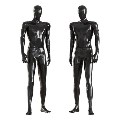 Two black faceless mannequin guys stand frontally. Isolated on white background. 3D rendering Imagens