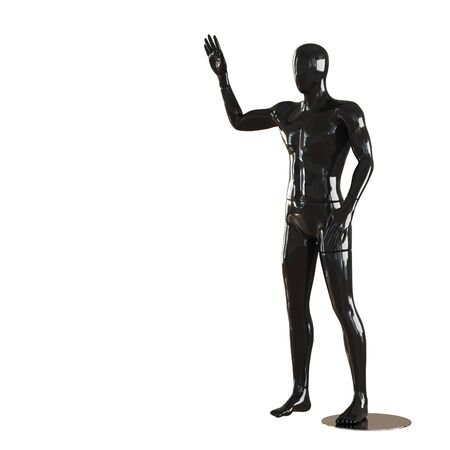 A black faceless guy mannequin stands and shows a gesture of greeting with his right hand. 3D rendering