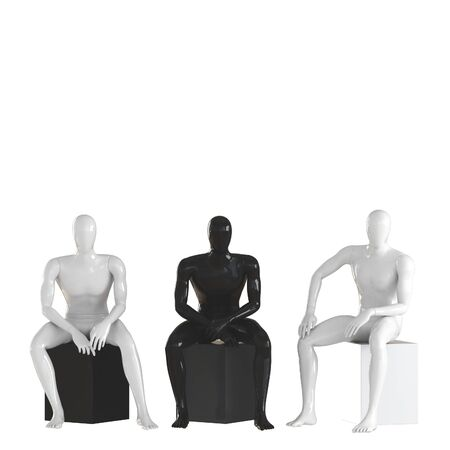 Faceless guys mannequins are sitting on a black and white box. Isolated white background 3D rendering