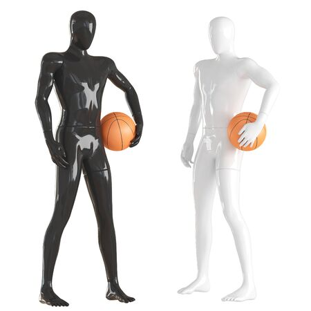 Two guys mannequin black and white stand with basketball. 3d rendering