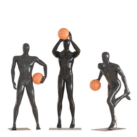Three black mannequin guys in different poses are holding basketball. 3d rendering