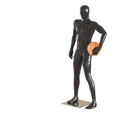 A black faceless guy a mannequin stands with basketball. 3d rendering Reklamní fotografie