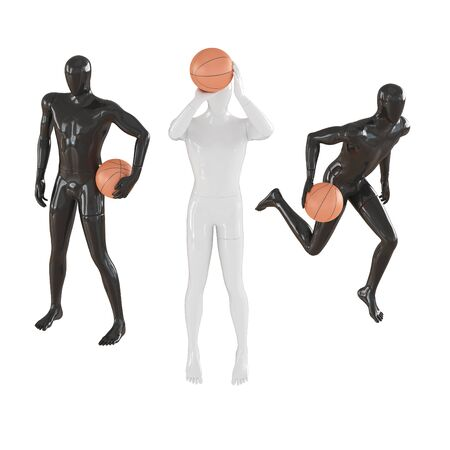 Two black mannequins and one white in the middle in different poses hold a basketball. 3d rendering