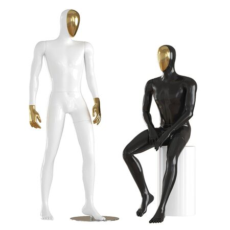 Two guys mannequin with golden face in a standing and sitting pose. 3d rendering