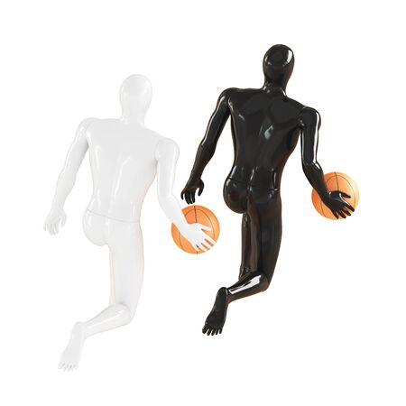Black and white mannequin guy run and dribble basketball. 3d rendering Reklamní fotografie