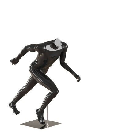 Black running headless mannequin on iron stand. 3d rendering