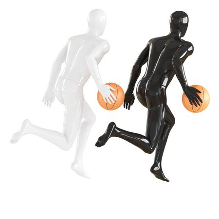 White and Black faceless guy mannequin in a running pose with a basketball. 3d rendering