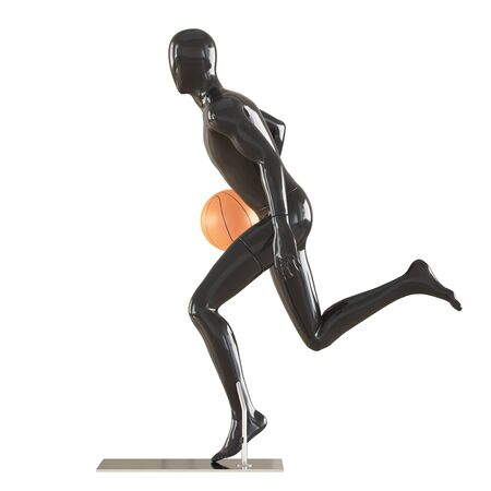 Black faceless guy mannequin in a running pose with basketball. 3d rendering