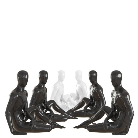 Four black and two white mannequin guys at the end are sitting symmetrically on floor. 3d rendering