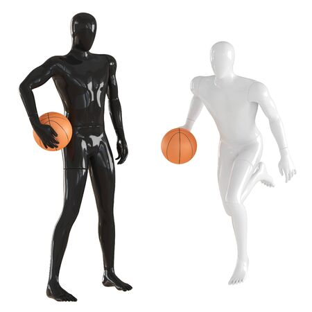 A black mannequin guy stands with ball and a white man runs and dribbles a basketball. 3d rendering