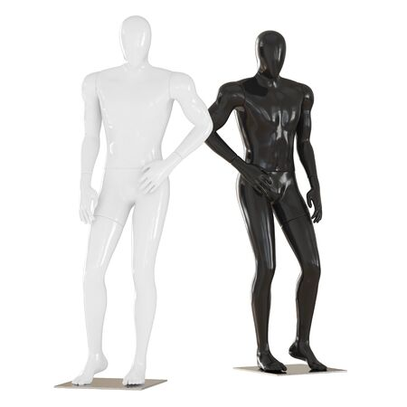 Black and white mannequin stand in pose as fashion model. 3D rendering on isolated background Reklamní fotografie