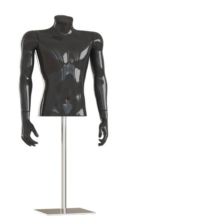 Black torso of a mannequin on iron rack. 3D rendering on isolated background Reklamní fotografie