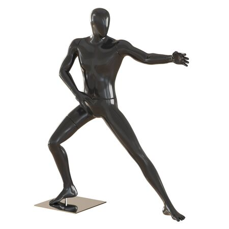 A black faceless mannequin stands in pose as in martial arts. 3D rendering on isolated background Reklamní fotografie
