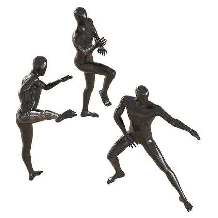Three black mannequins stand against each other in different stances as in martial arts. 3D rendering isolated background