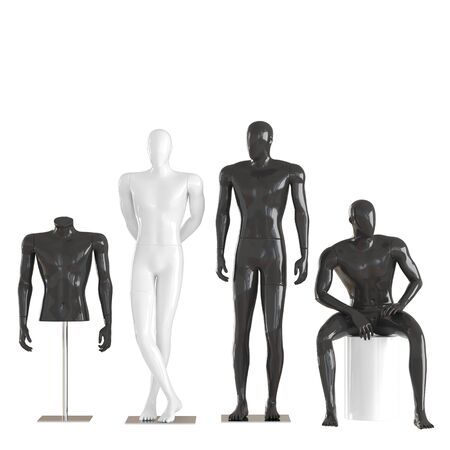 Four different mannequins in a standing and sitting pose and one mannequin torso on iron rack. 3D rendering on isolated background