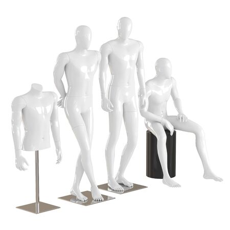 Four different white mannequins in a standing and sitting pose and one torso mannequin on iron rack. 3D rendering on isolated background
