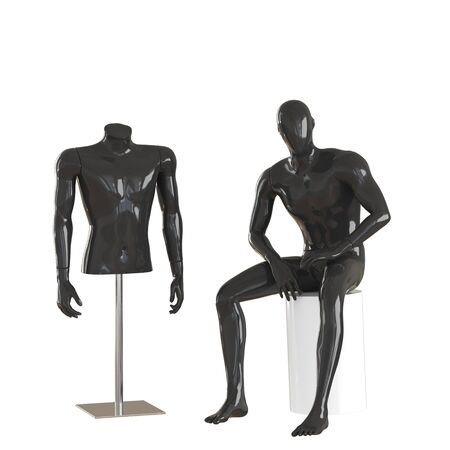 A black mannequin sits and one black mannequin torso on iron rack. 3D rendering on isolated background