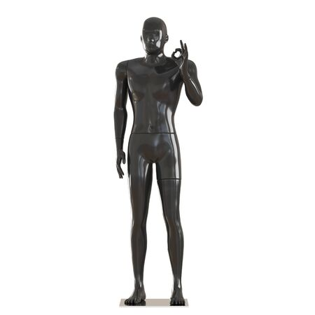 A black mannequin stands in a pose and shows a gesture that everything is fine. 3D rendering isolated background