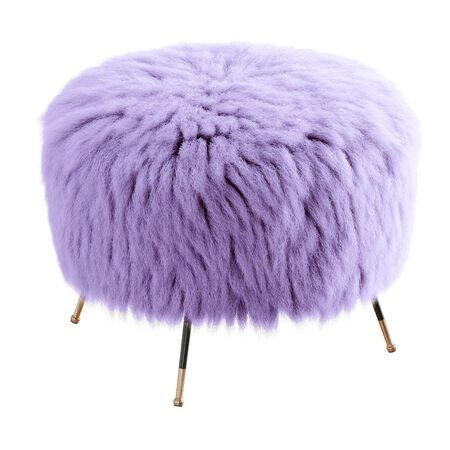 Violet fluffy stool made of sheepskin wool on hooves on isolated background. 3D rendering Stock Photo