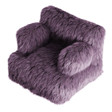Beautiful purple fluffy armchair made of wool on isolated background. 3D rendering Stock Photo
