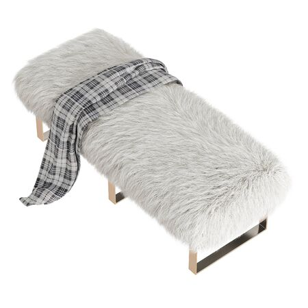 Beautiful white fluffy bench with a plaid made of wool on isolated white background. 3D rendering Stockfoto