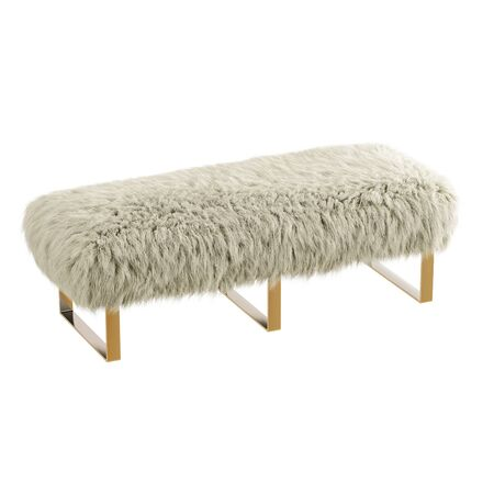 Beautiful milk fluffy bench made of wool on isolated background. 3D rendering Stockfoto