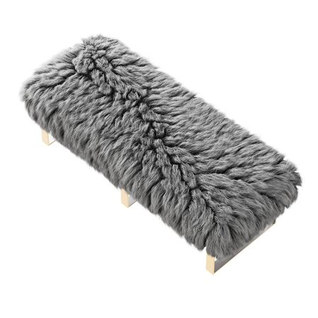 Beautiful gray fluffy bench made of wool on isolated background. 3D rendering