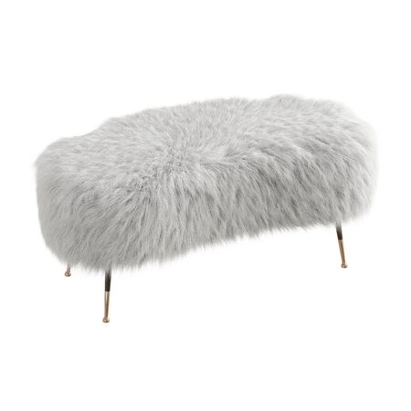 Beautiful white fluffy bench made of wool on isolated background. 3D rendering