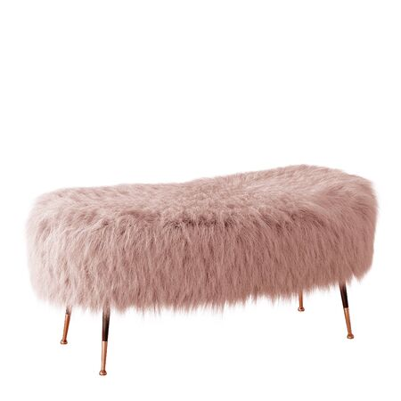 Beautiful peach colour fluffy bench made of wool on isolated background. 3D rendering