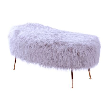 Beautiful purple fluffy bench made of wool on isolated background. 3D rendering