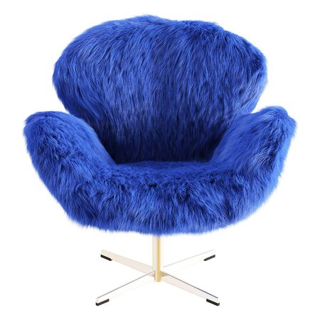 Beautiful blue fluffy armchair made of wool on isolated background. 3D rendering Stockfoto