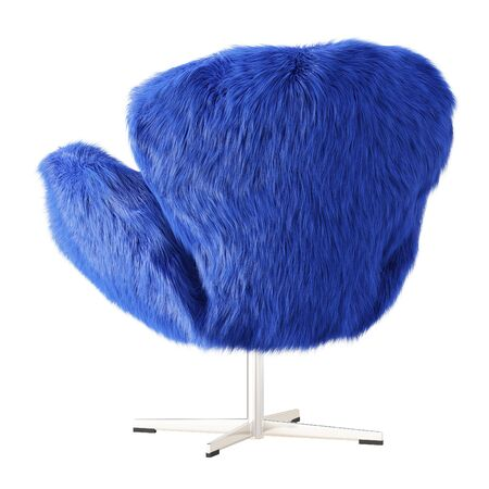 Beautiful blue fluffy armchair made of wool back view on isolated background. 3D rendering