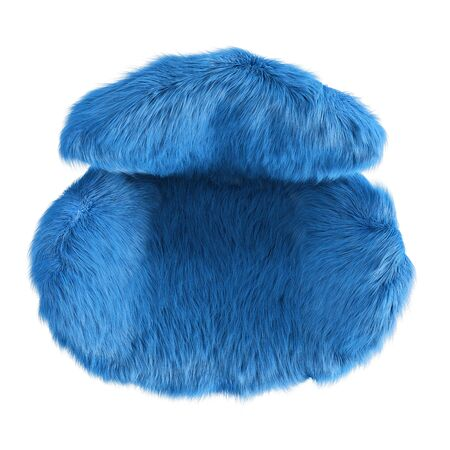 Beautiful blue fluffy armchair made of wool top view on isolated background. 3D rendering