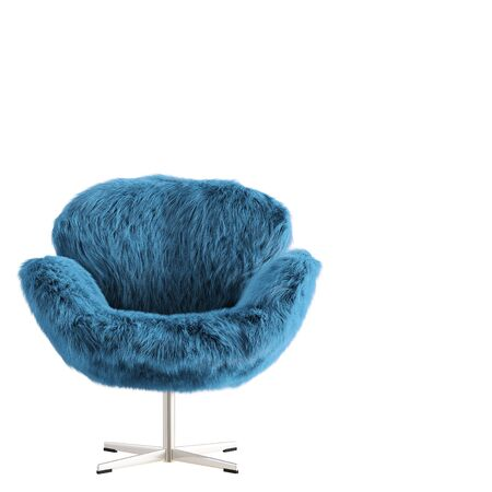 Beautiful turquoise fluffy armchair made of wool front view on isolated background. 3D rendering Stockfoto