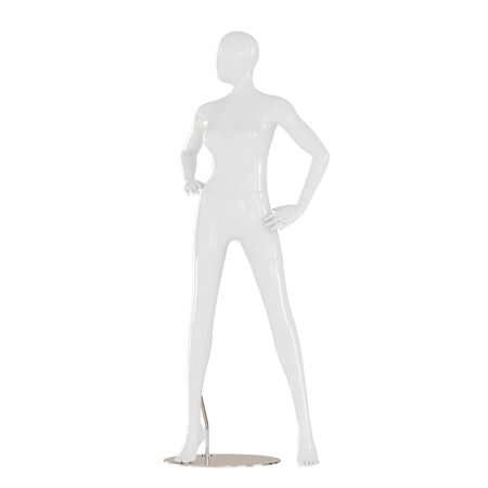 A white female mannequin stands on an iron mount on isolated white background. 3D rendering