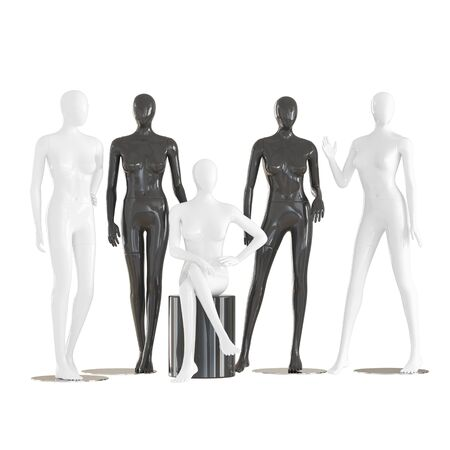Five faceless female mannequins sit and stand on isolated white background. 3D rendering