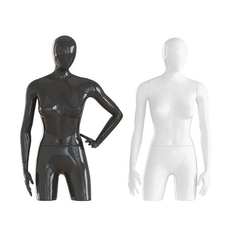 Black and white mannequin with an incomplete part of the legs on isolated white background. 3D rendering Banco de Imagens