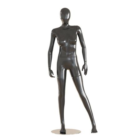A faceless female black mannequin stands on isolated white background. 3D rendering
